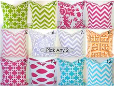 PILLOWS SET of 2. PICK 2.  Pink Orange Lavender Aqua Blue 18x18 Decorative Throw Pillows Lime Green Pillow Covers Turquoise Blue Pillow on Etsy, $32.95