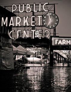 Seattle Pike Place Market  Neon Public Market by BigBeanPhotos, $24.00