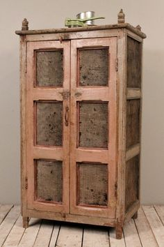 SALE Vintage Distressed Rustic Storage Kitchen Bathroom Indian Cabinet with Chicken Wire