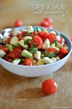 Caprese Salad with Avocado - A Teaspoon of Happiness