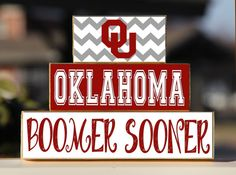 University of Oklahoma Boomer Sooner- Trio Wood Blocks Stack - Crimson/Cream - Home Decor/Gift - Oklahoma - - Wooden Blocks on Etsy, $15.00