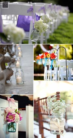 Mason Jars for wedding aisle decor blue mason jars, aisle decorations, aisl decor, rustic weddings, flower decorations, wedding aisles, mason jars for weddings, candl, mason jars ideas for weddings