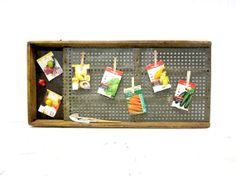 Vintage Rustic Metal and Weathered Wood Seed Sorter Upcycled into Memo Board  by SimplyCountryHome, $44.00