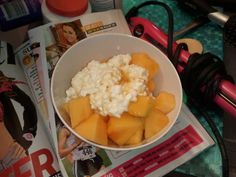 Healthy snack Cantaloupe, Cottage Cheese and SF Syrup!!