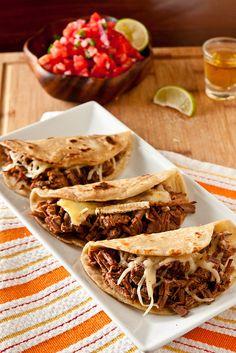 Brie and Brisket Quesadillas or Tacos with Mango Barbecue Sauce Recipe
