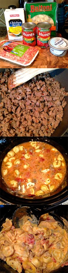 1 lb. Italian Sausage  20 oz. Frozen Three-Cheese Tortellini  32 oz. Low Sodium Chicken Broth 2 Cans Diced Tomatoes – The kind that are seasoned with basil, garlic & oregano. If you don't have the seasoned ones, you'll need to add in your own seasonings. 8 oz. Cream Cheese or Neufchâtel Cheese – We use the low fat kind when using cream cheese. Grated Parmesan Cheese for topping!