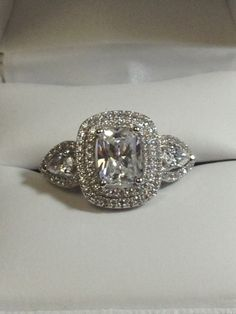 Halo Engagement Ring Cushion cut about 1.5 carat by antiqueandmore, $39.00