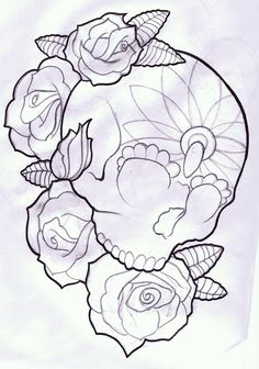 candy skull   candy skull and roses tattoo design by ~thirteen7s on deviantART
