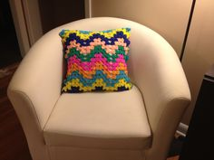 Crocheted pillow cover.  Created in Chappy's Lab.