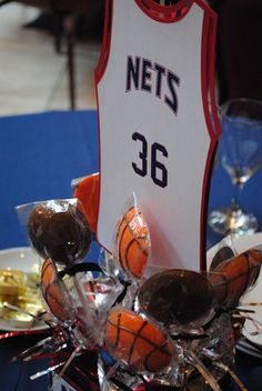 Basketball Banquet table centerpiece/table number idea #party #basketball #sports #banquet
