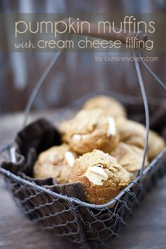 Pumpkin Muffins with Cream Cheese Filling #recipe by bunsinmyoven.com