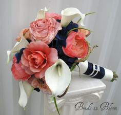 Wedding bouquet coral navy white calla lily rose bridal bouquets silk wedding flowers....so I love my lavender theme for fall into winter...but falling in love with the coral and navy for summer...