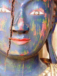 blue buddha, buddhism, wooden buddha, paint buddha, inspir, buddha spirit, buda, color buddha, blue art