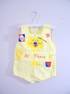 Vintage baby boy sunsuit / shortalls, 1960's.