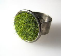Green Grass Ring in Gun Metal Wide Adjustable by SeahagAndWalrus, $24.00