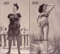 Thirty years separate the two suits above. The 1915 model cost 30 dollars, the 1945 model cost 13 dollars.