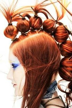 Ping pong balls and rubber bands do the trick... totally creative .ART HAIR.