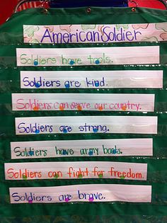 American Soldier Pocket Chart