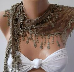 Caramel /Scarf with Lacy Edge by womann on Etsy,