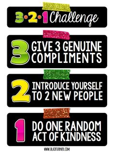 3-2-1 Challenge for Kids: hang this FREE poster up in the classroom to encourage students to complete on a daily/weekly basis. It should work well for pretty much any age group!