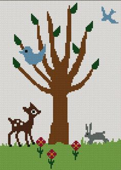 Tree of Life No.1 Baby Deer Bird Bunny Crochet Afghan Pattern Graph. $3.80, via Etsy.