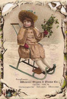 christmas cards, christma card, vintage christmas, vintag christma, trade card, piano compani, christma girl