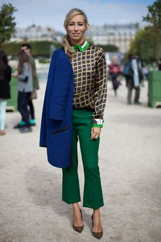 Paris Fashion Week - spring 2013. Gorgeous cropped green pants.