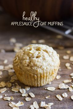 HEALTHY Applesauce oat MUFFINS: Made with lots of oats, applesauce, Greek yogurt, and coconut oil, these muffins are a good way to start the day!