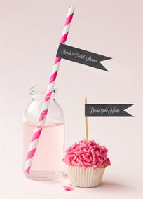 These personalized chalkboard flag labels (Style EB2351CBW) are perfect for your dessert table. #weddings #davidsbridal