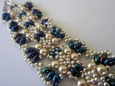 Beaded Bracelet Twin Beads glass Pearl Seed Bead - YouTube