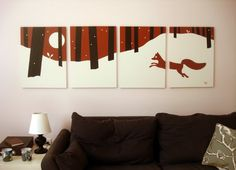 Fox Silhouette Paintings in Red, White, & Black
