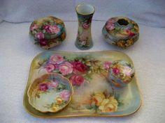 Limoges Austrian Porcelain Dresser Set Vintage Roses