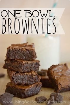 Craving chocolate?  These amazing brownies whip up super fast in just one bowl, and you can even make them out of leftover candy instead of chocolate chips!  I seriously didn't believe homemade brownies could beat the box version, but this recipe proved me wrong!