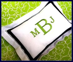 B&W; with lime is perfection and a monogram even better than perfect