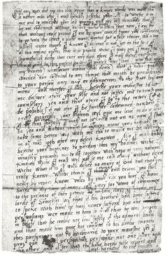 Princess Elizabeth's, later Queen Elizabeth I, letter to her sister Queen Mary I. Written just before she was taken to the Tower.