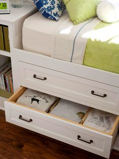 Love this idea with the drawers under bed - Stow Away