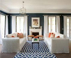 wall colors, living rooms, rug, color schemes, color combos, blue walls, dark walls, live room, the navy