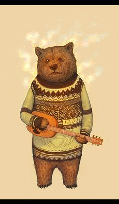 sweaters, hipsters, 3d character, illustrations, concept art, bears, musician, guitar, artist
