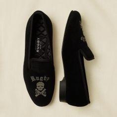Ralph Lauren Skull and Bones Velvet Slippers