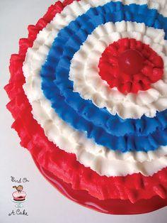 Patriotic Ruffled Bunting Cake