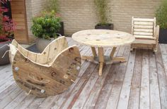 furniture made of wood reels