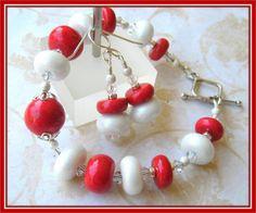 Lots of Love Bracelet and Earrings Set  Polymer by ChloeBoutique78, $44.00