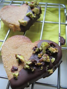 A vegan obsession: Lemon, cardamon cookies encrusted with dark chocolate and pistachio crumbs.