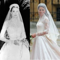 The wedding gowns of Grace Kelly and Kate Middleton are  similar in classic style.