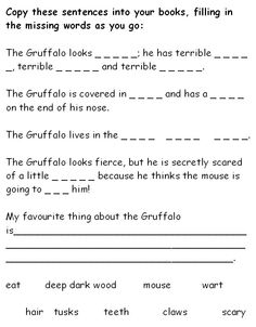 The Gruffalo missing words - A worksheet asking children to fill in the missing words, describing Julia Donaldson's 'The Gruffalo'.