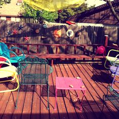 I want a patio with bright mismatched furniture.