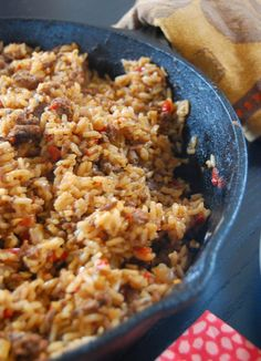 Beef and Sausage Dirty Rice - easy one-dish meal with slow cooked veggies. Try it with spicy sausage! #smarterbeef