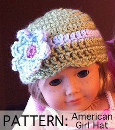 "I think I could actually make this! American Girl Doll Hat PATTERN: Flowered Cloche (Fits most 18""dolls)"