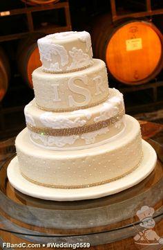 "Design W 0559 | Champagne Tinted Fondant Cover Wedding Cake | 16""+12""+9""+6"" | Serves 190 | Gold Rhinestone Band, Hand Pressed Debossed Pattern, Gold Rhinestone Band, Fondant Lace | Custom Quote"