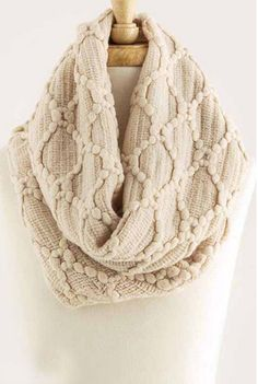 Pom Trails Infinity Scarf - Beige – Heart & Home